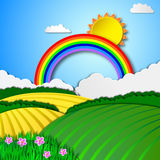 Sunny rural landscape. Rainbow sky and green spring meadow, vector background Stock Image