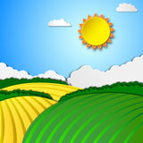 Sunny rural landscape vector illustration