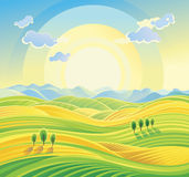 Sunny rural landscape with rolling hills and fields. vector illustration