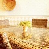 Sunny rustic interior Stock Photo