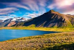 Sunny sammer morning in the Icelandic fjords. Stock Photo