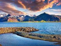 Sunny sammer morning in the Icelandic fjords. Stock Photos