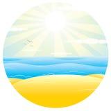 Sunny Sand Beach. Vector Illustration Royalty Free Stock Photos