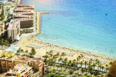 Sunny sandy beach Alicante, Spain Royalty Free Stock Photos