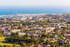 Sunny Santa Barbara California. Cityscape Panorama. City of Santa Barbara, Marina and Pacific Ocean Royalty Free Stock Image