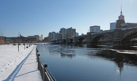 Boston scenery with Charles River. Sunny scenery in Boston (Massachusetts, USA) at winter time Royalty Free Stock Image