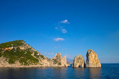 Sunny Sea. The famous rocks of Capri in the Mediterranean Sea Royalty Free Stock Image