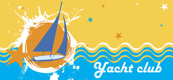 Sunny sea background with orange splash.Horizontal yacht club banner Stock Photo