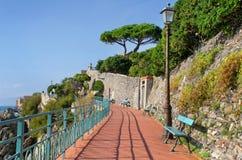 Sunny sea side promenade in Genoa Nervi Royalty Free Stock Image