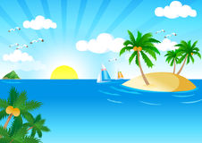 Sunny and Sea. Vector. Vector Illustration of Summer Tropical Beach. Tropical Palm With Sea Wave on Sunny Background stock illustration
