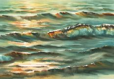 Sunny sea watercolor background Royalty Free Stock Photo