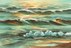 Sunny sea watercolor background Stock Photo