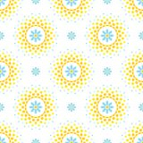 Seamless pattern with blue flowers and orange and yellow halftone circle frame on white background Stock Photo