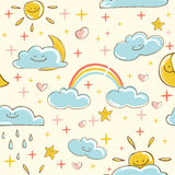 Sunny seamless pattern Stock Photos
