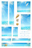 Sunny seascape backgrounds. Sea animals and decorative dividers - set of standard web banners Stock Image