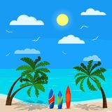 Sunny seascape with palms, blue ocean, sand coastline, different surfboards, clouds, sun, seagulls, sky, Vector background stock illustration