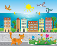 Sunny seaside town Royalty Free Stock Images