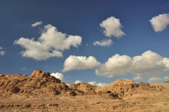 Sunny semi-desert day. Around the archeoligical site Petra is so much fantastic and breath-taking view, just go hiking there Royalty Free Stock Image