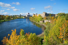 Sunny september day on the border river Narva Royalty Free Stock Image