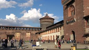 A sunny september day in the Sforza castle. Milan. MILAN, ITALY - SEPTEMBER 17, 2017: A sunny september day in the Sforza castle stock video