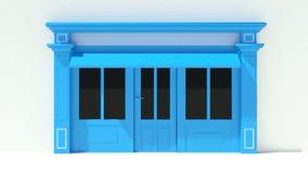 Sunny Shopfront avec de grandes fenêtres blanches et façade bleue de magasin avec des tentes Photographie stock