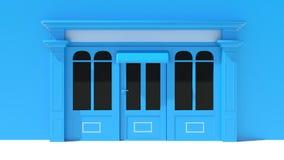 Sunny Shopfront avec de grandes fenêtres blanches et façade bleue de magasin avec des tentes Photos stock
