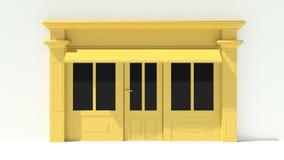 Sunny Shopfront avec de grandes fenêtres blanches et façade jaune de magasin avec des tentes Images stock