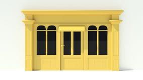 Sunny Shopfront avec de grandes fenêtres blanches et façade jaune de magasin avec des tentes Photo stock