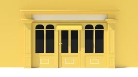 Sunny Shopfront avec de grandes fenêtres blanches et façade jaune de magasin avec des tentes Photo libre de droits