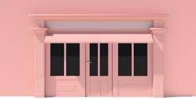 Sunny Shopfront avec de grandes fenêtres blanches et façade rose de magasin avec des tentes Image stock
