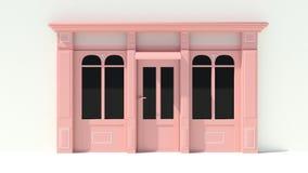 Sunny Shopfront avec de grandes fenêtres blanches et façade rose de magasin avec des tentes Photos stock