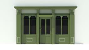 Sunny Shopfront avec de grandes fenêtres blanches et façade verte de magasin avec des tentes Image stock