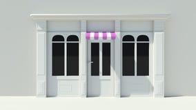 Sunny Shopfront avec la façade blanche de magasin de grandes fenêtres avec les tentes roses et blanches pourpres Image libre de droits