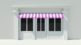 Sunny Shopfront avec la façade blanche de magasin de grandes fenêtres avec les tentes roses et blanches pourpres Images libres de droits