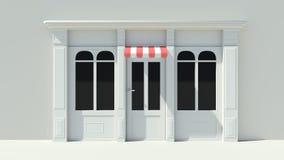 Sunny Shopfront avec la façade blanche de magasin de grandes fenêtres avec les tentes rouges et blanches Photo stock