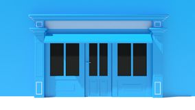 Sunny Shopfront with large windows White and blue store facade with awnings Stock Photo