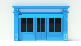 Sunny Shopfront with large windows White and blue store facade with awnings. 3D Stock Photography