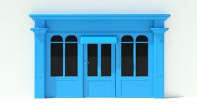 Sunny Shopfront with large windows White and blue store facade with awnings. Render of Sunny Shopfront with large windows White and blue store facade with Stock Image