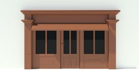 Sunny Shopfront with large windows White and brown store facade with awnings. 3D Stock Photo