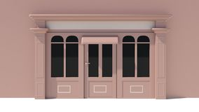 Sunny Shopfront with large windows White and brown store facade with awnings. 3D Stock Images