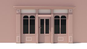 Sunny Shopfront with large windows White and brown store facade with awnings. 3D Royalty Free Stock Photos