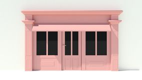 Sunny Shopfront with large windows White and pink store facade with awnings Royalty Free Stock Photo