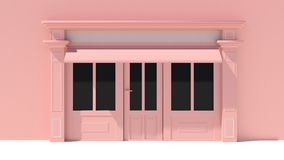Sunny Shopfront with large windows White and pink store facade with awnings. 3D Stock Image