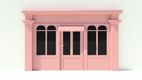 Sunny Shopfront with large windows White and pink store facade with awnings Royalty Free Stock Images