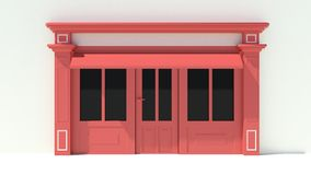 Sunny Shopfront with large windows White and red store facade with awnings Royalty Free Stock Photos