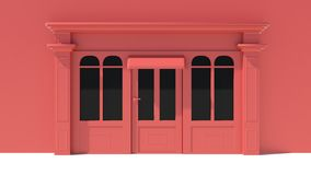Sunny Shopfront with large windows White and red store facade with awnings. 3D Royalty Free Stock Photos