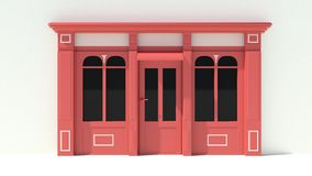 Sunny Shopfront with large windows White and red store facade with awnings. 3D Stock Photos
