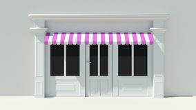 Sunny Shopfront with large windows White store facade with purple pink and white awnings Royalty Free Stock Images