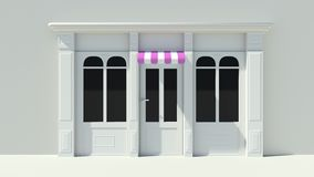 Sunny Shopfront with large windows White store facade with purple pink and white awnings Royalty Free Stock Image