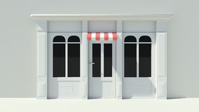 Sunny Shopfront with large windows White store facade with red and white awnings. 3D Stock Photo